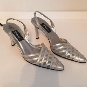 Silver formal dress shoes